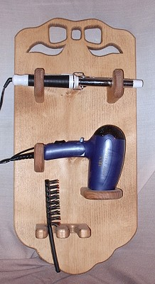 Hair Dryer and Curling Iron Holder - Wood Hair Dryer Holder